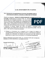 Rodolfo Ucros solicitó acompañamiento de la Procuraduría para empalme con Joao Herrera en Soledad