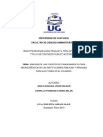 Análisis de Las Fuentes de Financiamiento Para Microcréditos de Las Instituciones Públicas y Priv