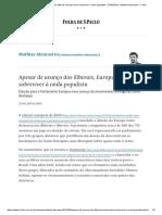 Apesar de Avanço Dos Iliberais, Europa Deve Sobreviver à Onda Populista - 27-05-2019 - Mathias Alencastro - Folha