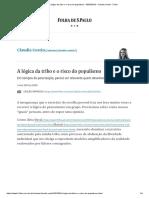 A Lógica Da Tribo e o Risco Do Populismo - 03-05-2019 - Claudia Costin - Folha