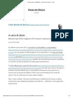 A Carta de Jânio - 20-05-2019 - Celso Rocha de Barros - Folha