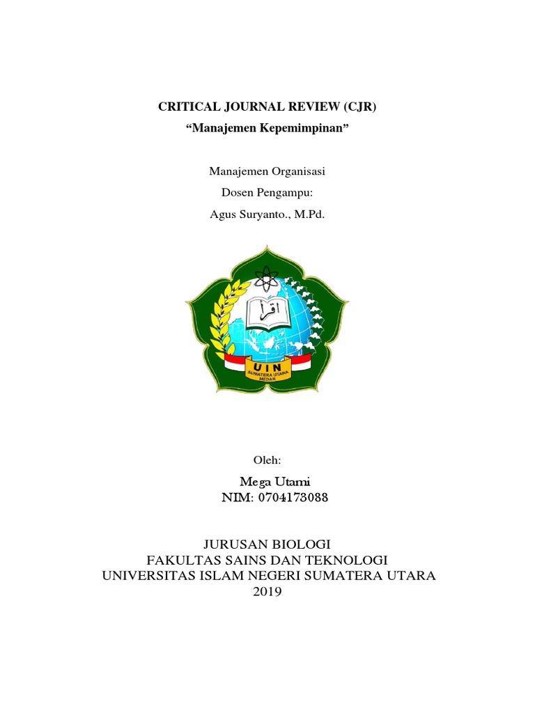 Critical Journal Review Mega Utami Uinsu Medan Manajemen Organisasi Pdf