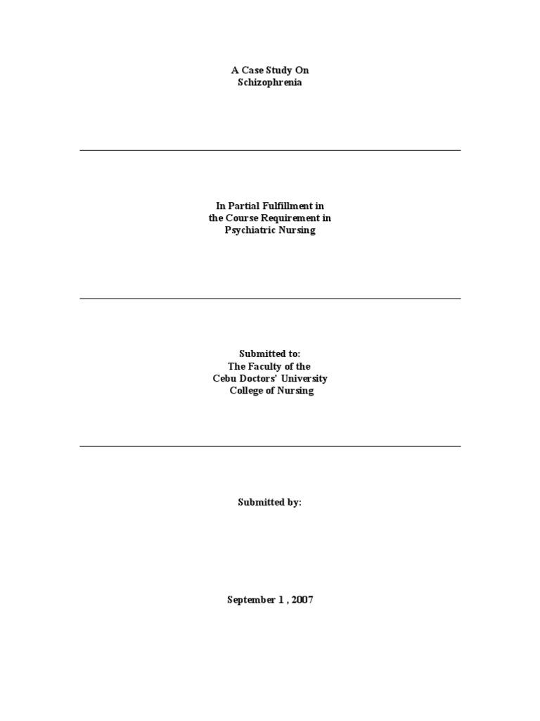 Case study schizophrenia scribd pdf – Analytical Essays