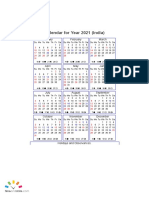 Year 2021 Calendar – India
