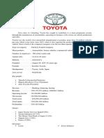 Company Profile of Toyota