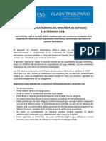 Sunat Modifica Normas Del Operador de Servicios Electrónicos (Ose)