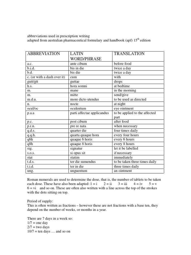 Common medical abbreviations bid tid qd hs stat NGT work