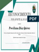 diploma de reconocimiento de SST