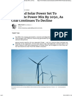 Wind and Solar Power Set to Dominate Power Mix by 2050, As Coal Continues to Decline