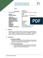 Sílabo 2019-i Planificacion y Control de Obras Civiles