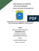Indicadores Clave de Desempeño- Proy. Constancia - Cuzco - Aprobada