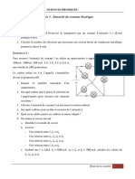 Série 3 Physique Intensité Du Courant Électrique