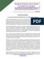 Boletín de prensa de la Fundación