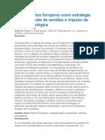 Bancos Mixtos Forrajeros Como Estrategia Para El Rescate de Semillas e Impulso de La Endogenológica
