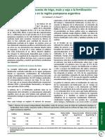 Eficiencia de respuesta de trigo, maíz y soja a la fertilización azufrada en la región pampeana argentina