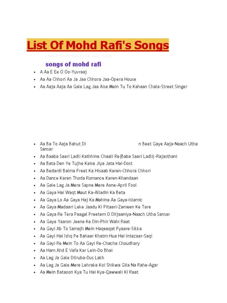 List Of Mohd Rafi Songs