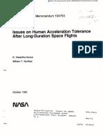 Issues on Human Acceleration Tolerance- NASA