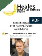 Scientific News 3rd of November 2019
