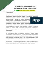 Base - Plan de Manejo de Residuos Solidos Hospitalarios 2019