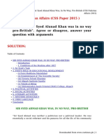 Sir Syed Ahmad Khan Was, In No Way, Pro-British (CSS Pakistan Affairs 2015)