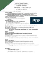Learning Plan Science 7 Fungi Bateiral
