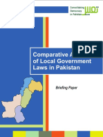 Comparative Analysis of Localgovernment Laws in Pakistan