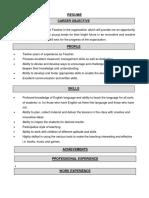 Format of Resume PRT Teachrer