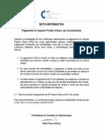 Nota Informativa Sobre Pagamento de IPU Nas Centralidades