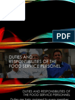 Duties and Responsibilities of the Food Service Personel