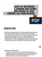Feasibility of activated charcoal, banana and citrus peel, and ginger in used cooking oil purification