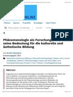 Westphal K. (Phänomenologie als Forschungsstil und seine Bedeutung für die kulturelle und ästhetische Bildung) (kubi-online)