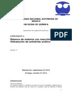 Balance de Materia Con Reaccion Quimica Hidratacion de Anhidrido Acetico