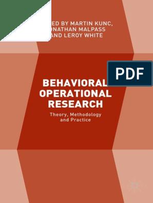 Behavioral Operational Research Behavioral Economics