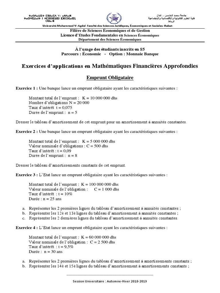 Exercices Emprunt Obligataire Prets Obligation Finance