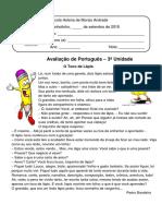 AVALIAÇÃO DE PORTUGUES 3º ANO 2019
