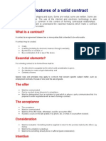 Essential features of a valid contract