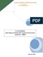 Calendrier Des Obligations Fiscales Et Sociales 2019