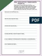 Countering Negative Thoughts Log- Self-help Worksheet