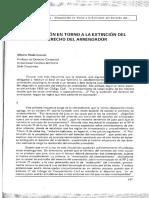 Artículo referido a la extinción del derecho del arrendador