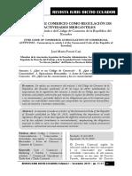 Código de Comercio Como Regulación de Las Actividades Mercantiles - Autor José María Pacori Cari