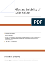 Factors Affecting Solubility of Solid Solute