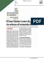 Nasce il Fano Marine Center per le ricerche in Adriatico - Il Corriere Adriatico del 1 novembre 2019
