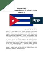 Boletín de Prensa - Desafíos y Recomendaciones de Política Exterior Para Cuba - Mora Carvajal (1)