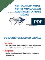 1.- Expediente Clinico y Otros Documentos Medicolegales Como Evidencia