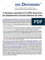 SPA CUBA - 4 Relatores Especiales de La ONU Denuncian Las Expatriaciones Forzosas Masivas de Cuba