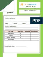 Examen Trimestral Tercer Grado Bloque II 2018-2019