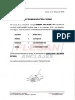 Certificado de Operatividad Inyectora i2