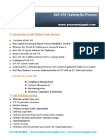 Sap Gts Training by Praveen Course Contents