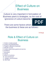 Role & Effect of Culture on Business