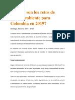 Cuáles Son Los Retos de Medio Ambiente Para Colombia en 2019
